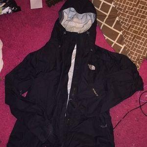 Black Northface raincoat